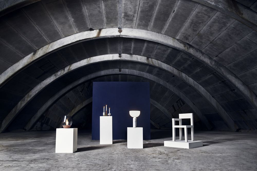 The hero shot with (L to R): the 'Bowl' lamp, 'Crowd' candleholders, 'Kizu' lamp and 'Untitled Concrete Chair'.