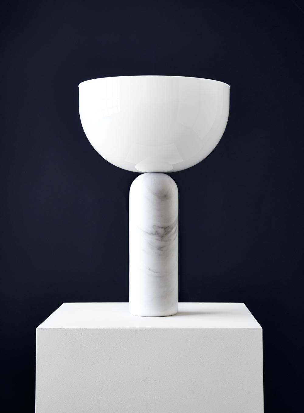 'Kizu' table lamp by Lars Tornøe for New Works. Opposing elements in marble and glass in delicate balance.