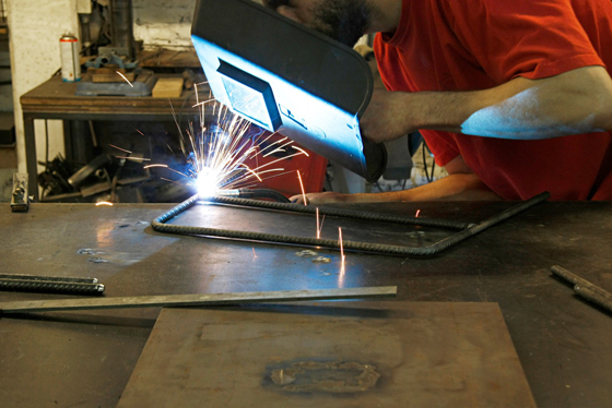 The 'Candy' tables being made - welding of rebar in progress.