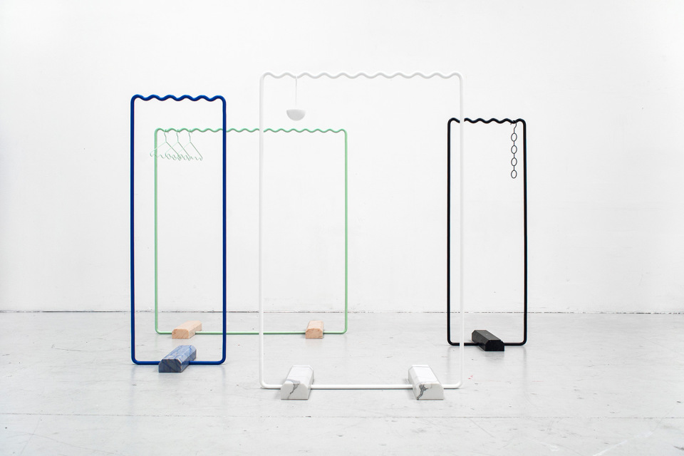 Marble and metal - The 'Sine' clothes hangers by Kyuhyung Cho & Erik Olovsson. 3 sizes & some unusual  marble colours available.