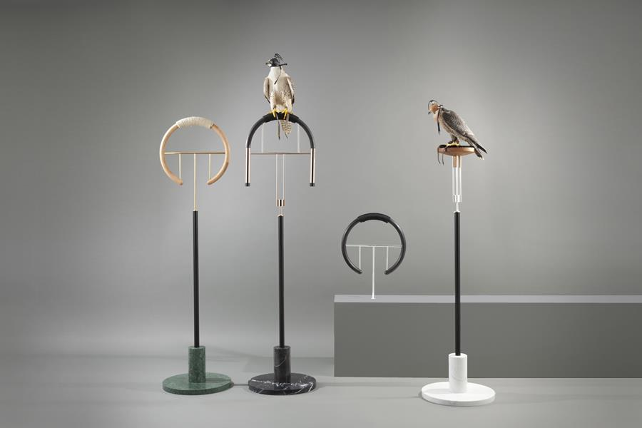 'Posa' falcon perches by Massimo Faion. Faion is represented by Carwan Gallery.