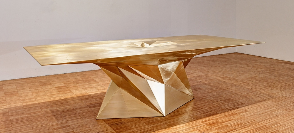The massive 'Tornado' table in manipulated sheet brass by Zhoujie Zhang (represented by Gallery ALL).