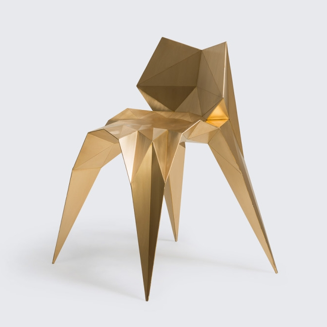 Zhang's 'bow tie' chair is made of fine sheet brass and created through a sophisticated computer programme.