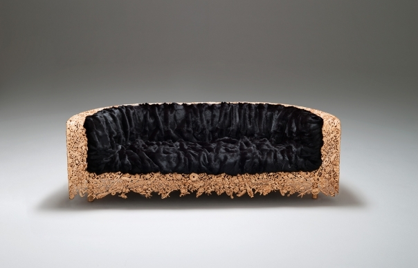 The Campana Brothers 'Numa' sofa (2014) in gilded cast bronze with eco-fur or rabbit fur upholstery.