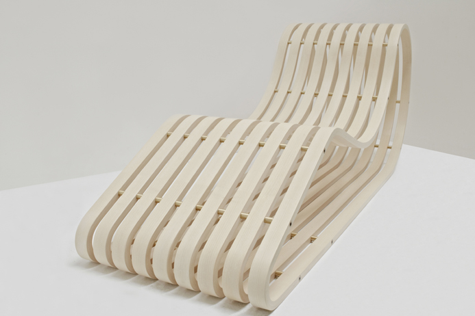 Thomas Lemut's 'Lounge chair'. A pure expression of steam bent timber in the form of a mobius strip.