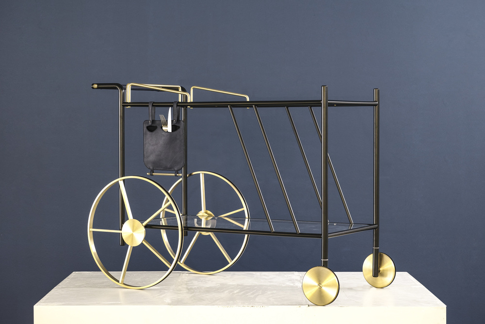 David/Nicolas' 'Chariot' serving trolley in brass and steel.