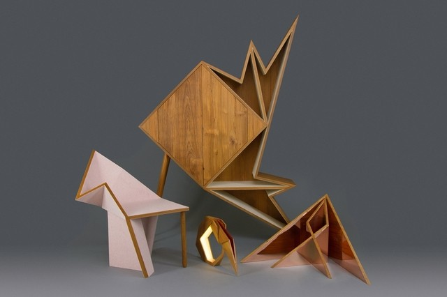 Aljoud Lootah's Oru Collection in teak felt and copper. A chair, cabinet, lamp and mirror.