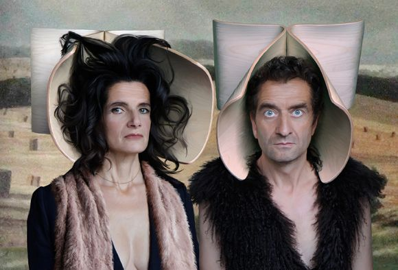 Marjelaine Caron and Louis Bachelot of Bachelot Caron shot a portrait of themselves with 'Butterfly' stool head pieces.