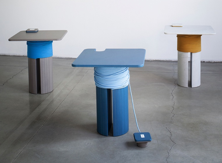 The 'Rochetto' side table with extension power outlet by Filippo Protasoni. Coloured MDF (left) and marble.