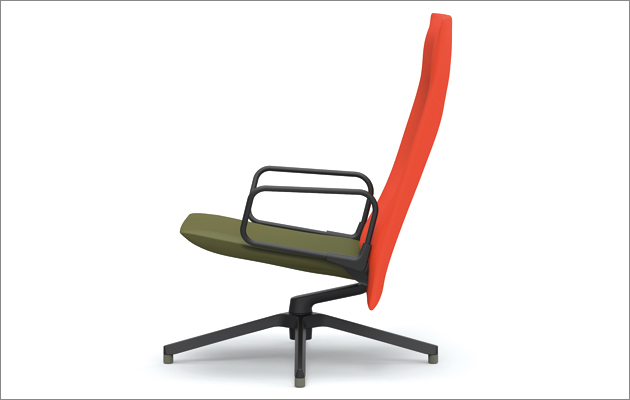 Barber Osgerby's new swivelling armchair design for Knoll, consisting of just four parts.