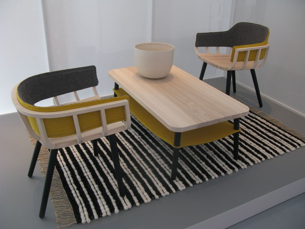 More from Liminal - the Irish design show at Tortona. Furniture by Notion, with rug and textiles by Mourne.