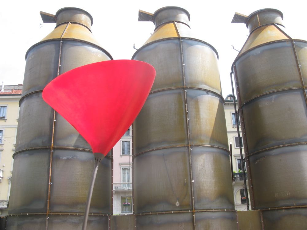 The 'Solis Silos' installation at the rear of lighting brand Viabizzuno's showroom in Brera.
