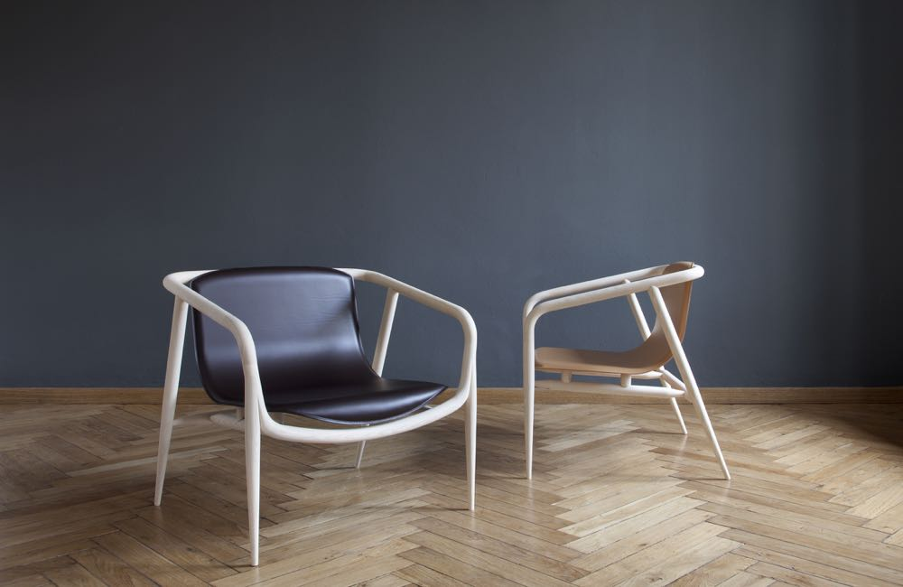 The 'Gemma' chair in ash and leather by Carlo Contin for the craft based brand,   Slow Wood .