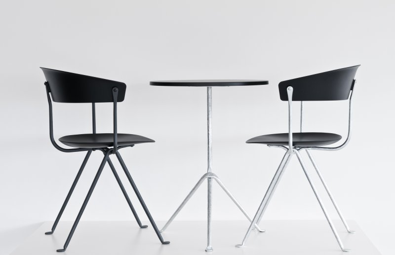 The Bouroullec's added a chair to their 'Officina' table range designed for  Magis  last year. They are available with a galvanised or black wrought iron base.