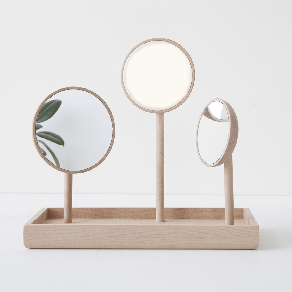 'Blossum' - a tray with two mirrors and a a light by Norwegian designer  Andreas Bergsaker.