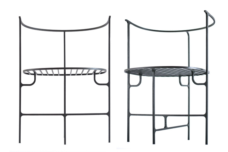Vittorio Venezia's wrought iron 'Ferro' chairs offered a graphic seating solution.
