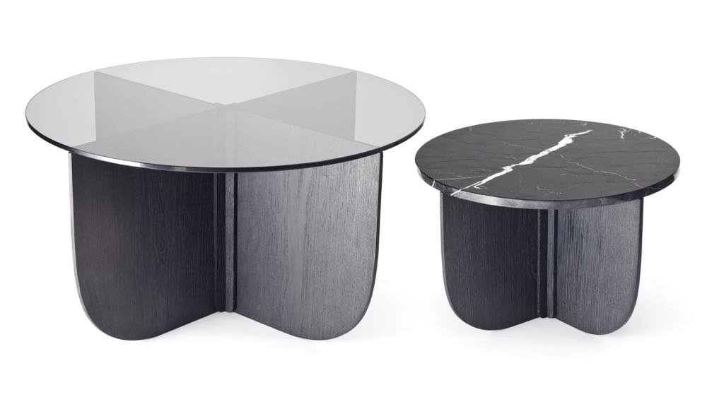 Büro Famos  'Mil' coffee and side table with a flat pack ash timber base and a glass or marble circular top.