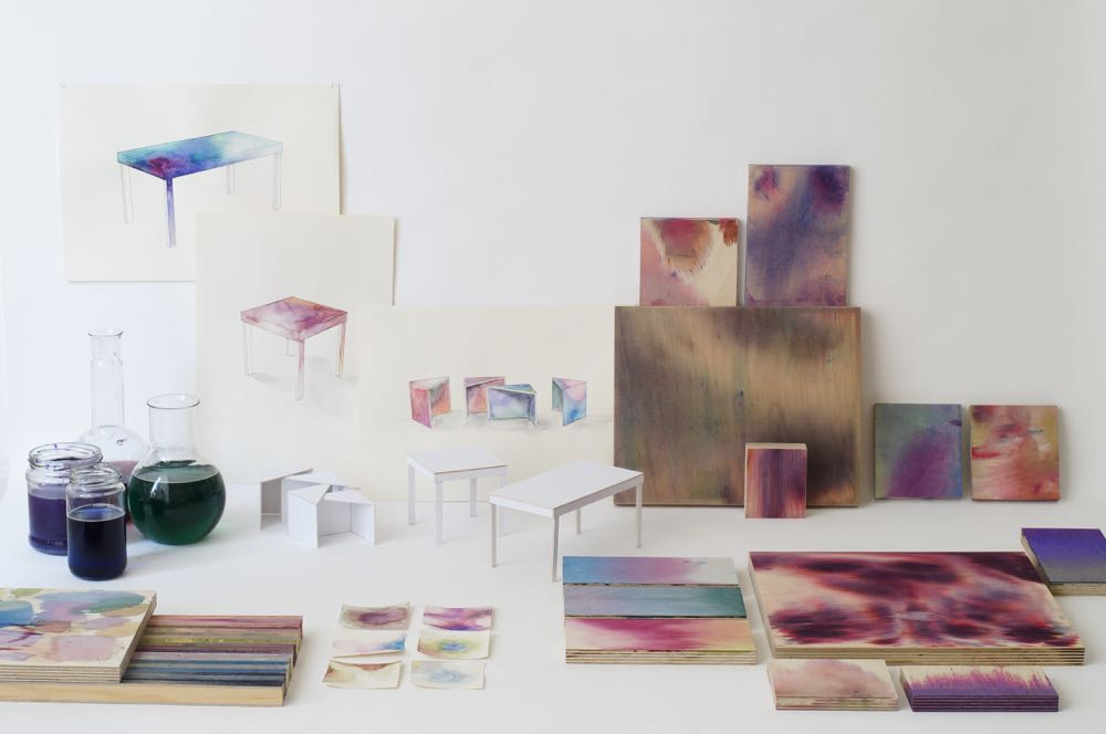 Meike Harde's study into liquid dye effects on timber called 'Aquarelle'