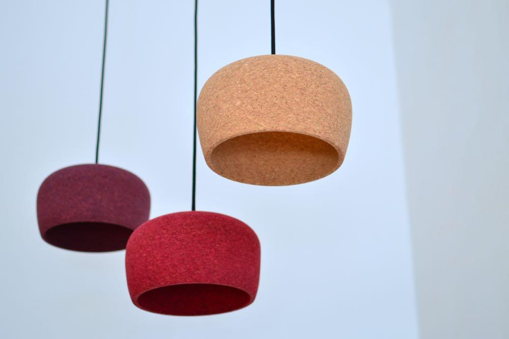 The Australian designerCZYK (Nikolai Kotlarczyk) showed his finely turned cork 'Porto' lights.