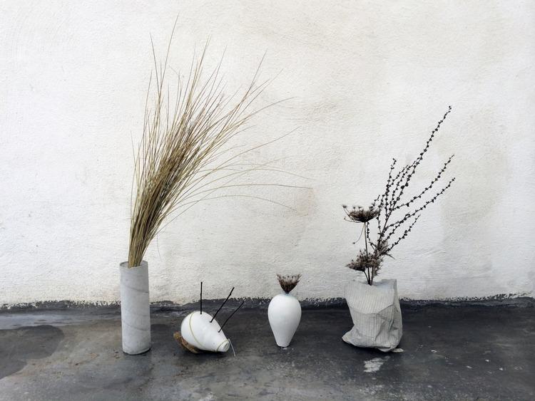 Formed works in concrete by Italian designer Cosma Frascina.