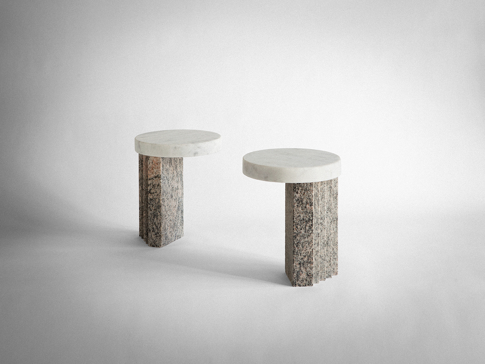 'VIII' side tables by Studiopepe. The marriage of two stones....Marble and Granite. Photo:Silvia Rivoltella