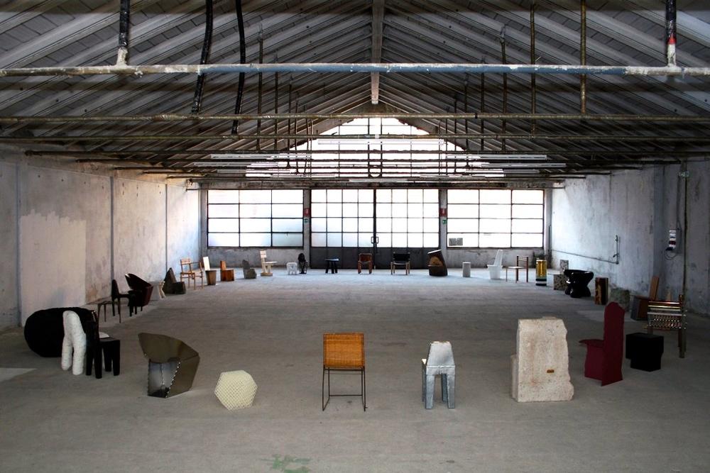 Max Lamb's Exercises in Seatingin the industrial surrounds of GarageSanremo. Photo: Sasa Stucin.