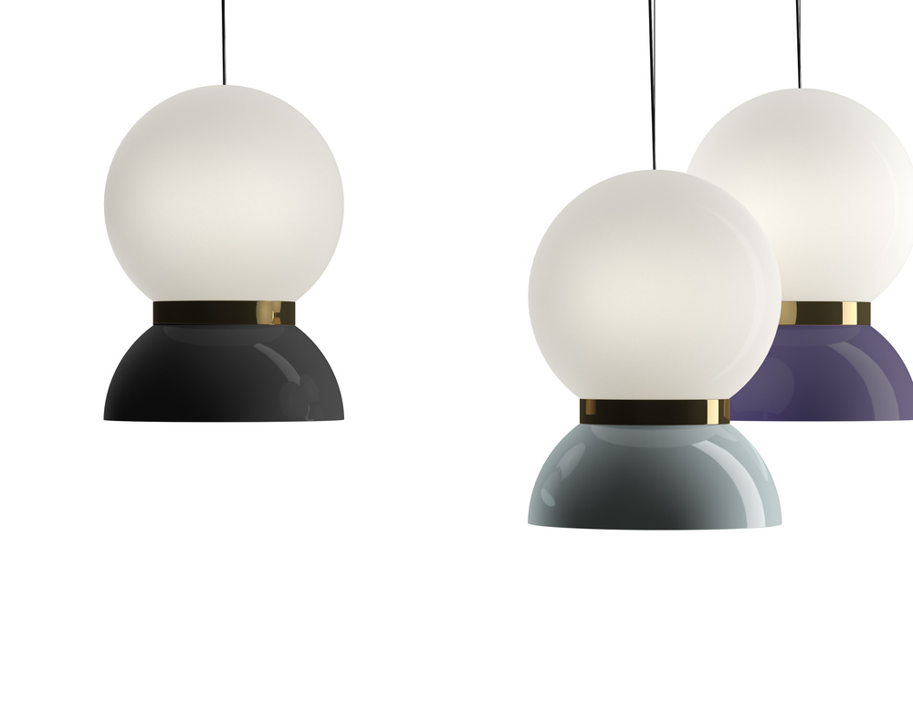 Jaime Hayon's 'Saint Louis' pendants for Italian label Ceccotti, are made from opaline glass, brass and glazed porcelain.