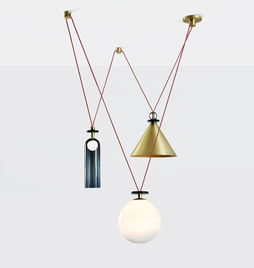 The three piece 'Shape Up' pendant light by American studio Ladies and Gentleman for Roll and Hill.