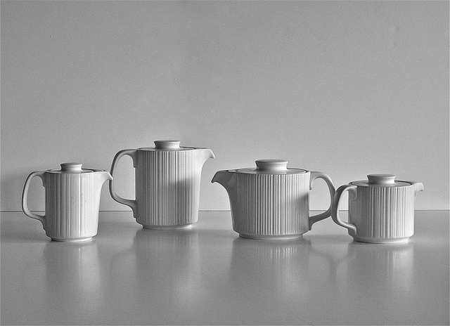 A group of tea and coffee pots from the 'Variation' dinner service designed by Wirkkala for Rosenthal.