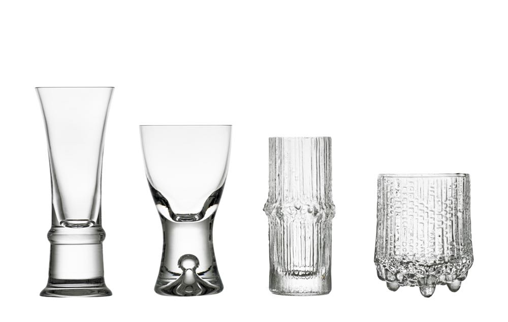 Some of Wirkkala's production glasses for Iittala. From left is Kaleva (1980), 'Tapio' from 1954 ,Niva (1972) and 'Ultima Thule' (1968). The glasses have been released by Iittala as a centenary set for a limited time.