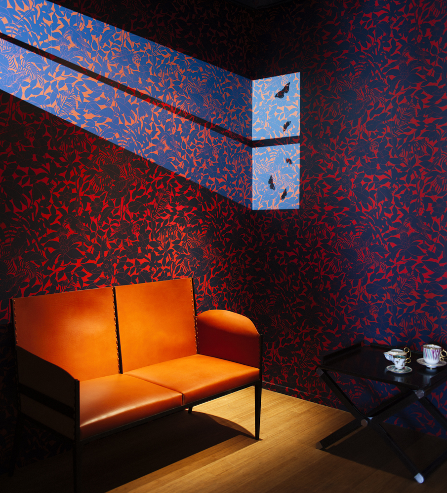Studio WM designed the interior of the Via Gastone Pisoni Hermes' store showed off the new wallpapers and fabrics beautifully using projections and their refined understanding of colour. Photo: Craig Wall