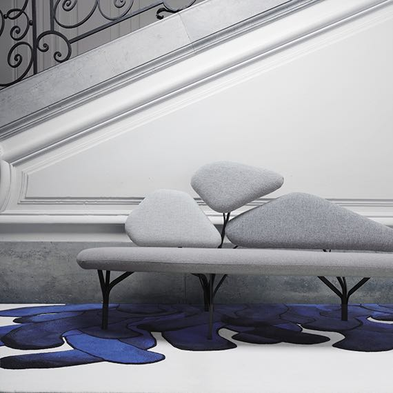 The 'Borghese' sofa by Noé Duchafour Lawrance from La Chance's 2012 collection. The rug is called 'Anenome' and is by Francois Dumas.