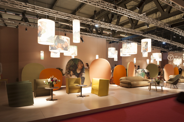 The Tacchini stand Salone del Mobile 2015 with the 'Sesann' sofa on display to the right. Photo: Craig Wall.