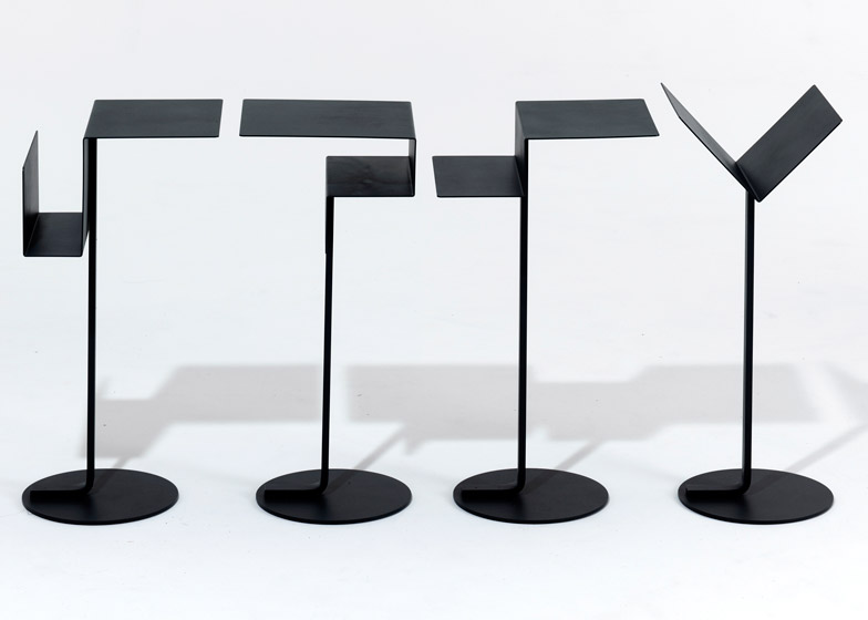 Konstantin Grcic's Mono tables in laser cut steel from 1995. Reissued by SCP.