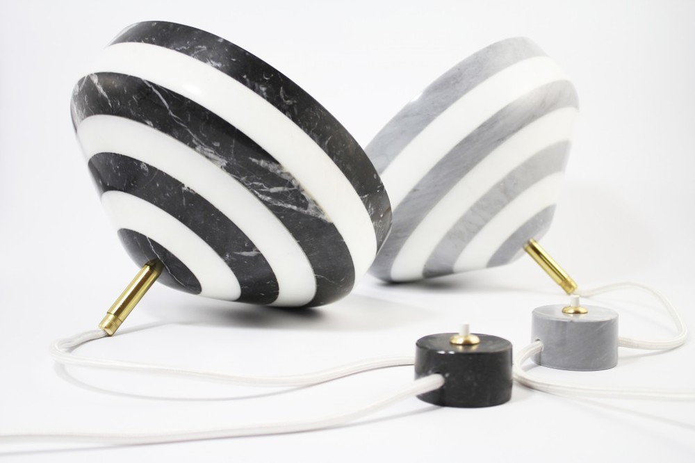 The 'Pirouette' table lamp in marble by Studio BAAG.