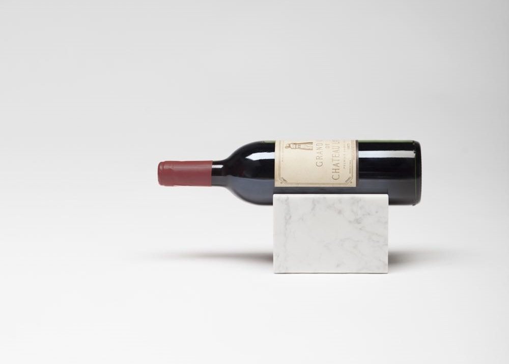 'Marblelous' wine bottle holder 2014   A s  olid Carrara marble wine bottle holder for presenting special wines in a spectacular way.