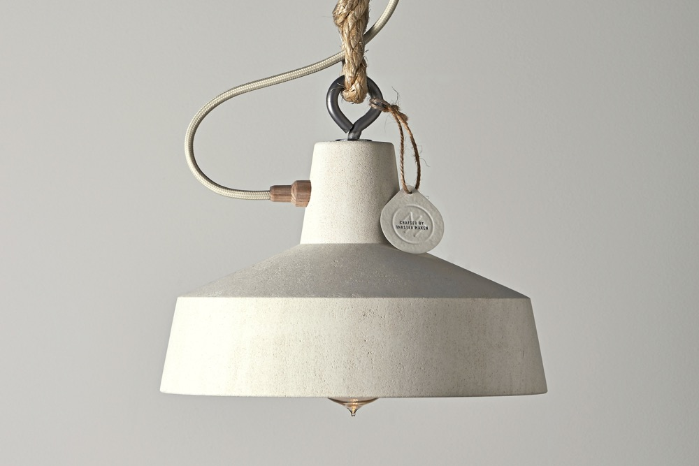 The 'Factory' pendant lamp in turned limestone by Hugh Altschwager of Inkster Maken.