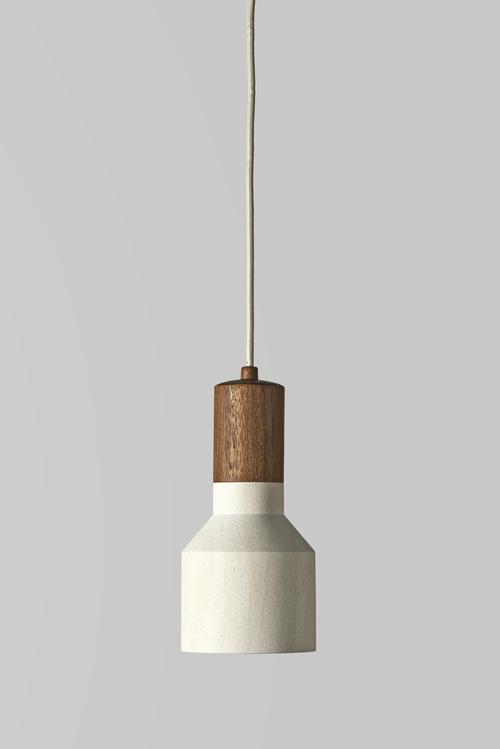Inkster Maken 'Flashlight' pendant in turned timber and limestone.