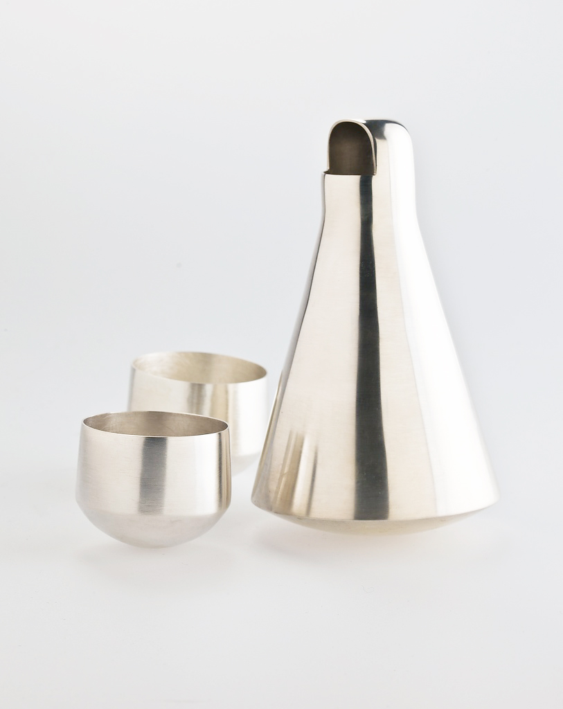 'Sake' vessels hand raised in spinning silver by Alison Jackson.
