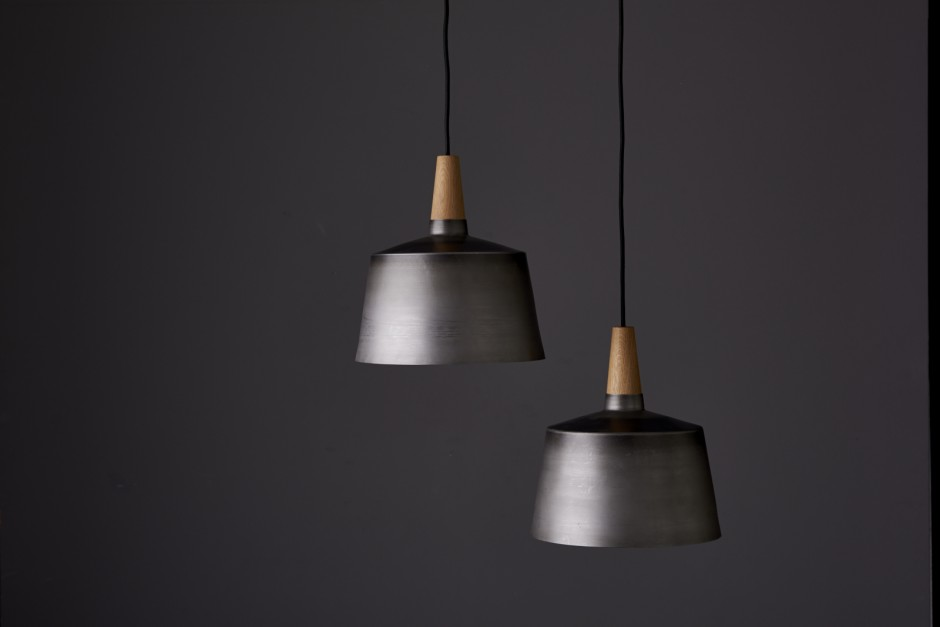 The 'Morse' pendant light in black steel and American oak by Elliot Gorham / Noddy Boffin.