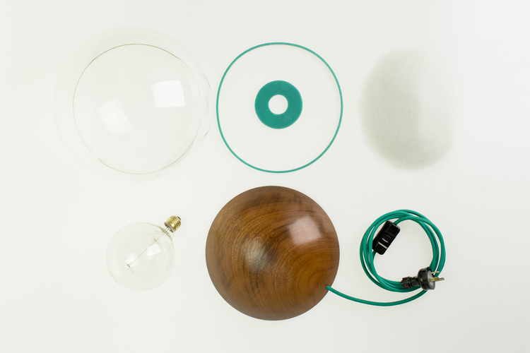 The 'Callisto' lamp by Stephen Roy in it's component parts. Photography by Johanis Lyons-Reid