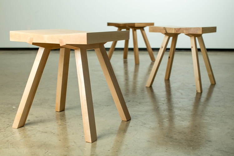 'Hansha' stools by Stephen Roy have a strong Japanese feel. Photo by Johanis Lyons-Reid