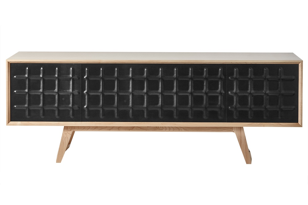 Nicholas Fuller's latest offering - the yet to be named credenza / sideboard is made from Canadian rock maple and features pressed leather doors.
