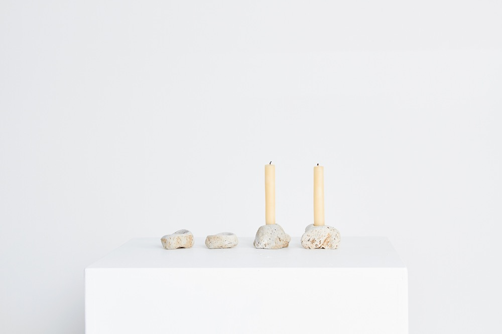 From Liane Rossler's 'You rock' series - 'Let there be light' candleholders. Carved natural pumice stone.