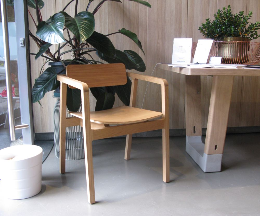 Chris Hardy's 'Langdon' chair in solid oak & oak faced plywood, distributed by Own World.