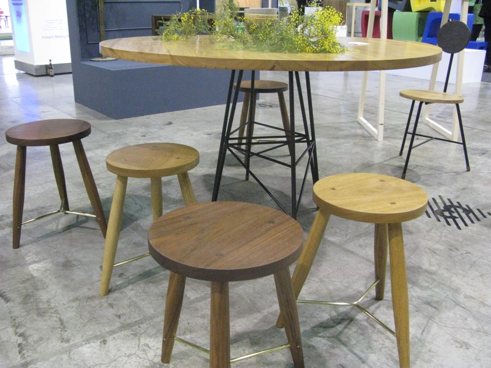 Jonathan West stools and dining table. Available in numerous timbers including tallowwood and walnut as shown here.