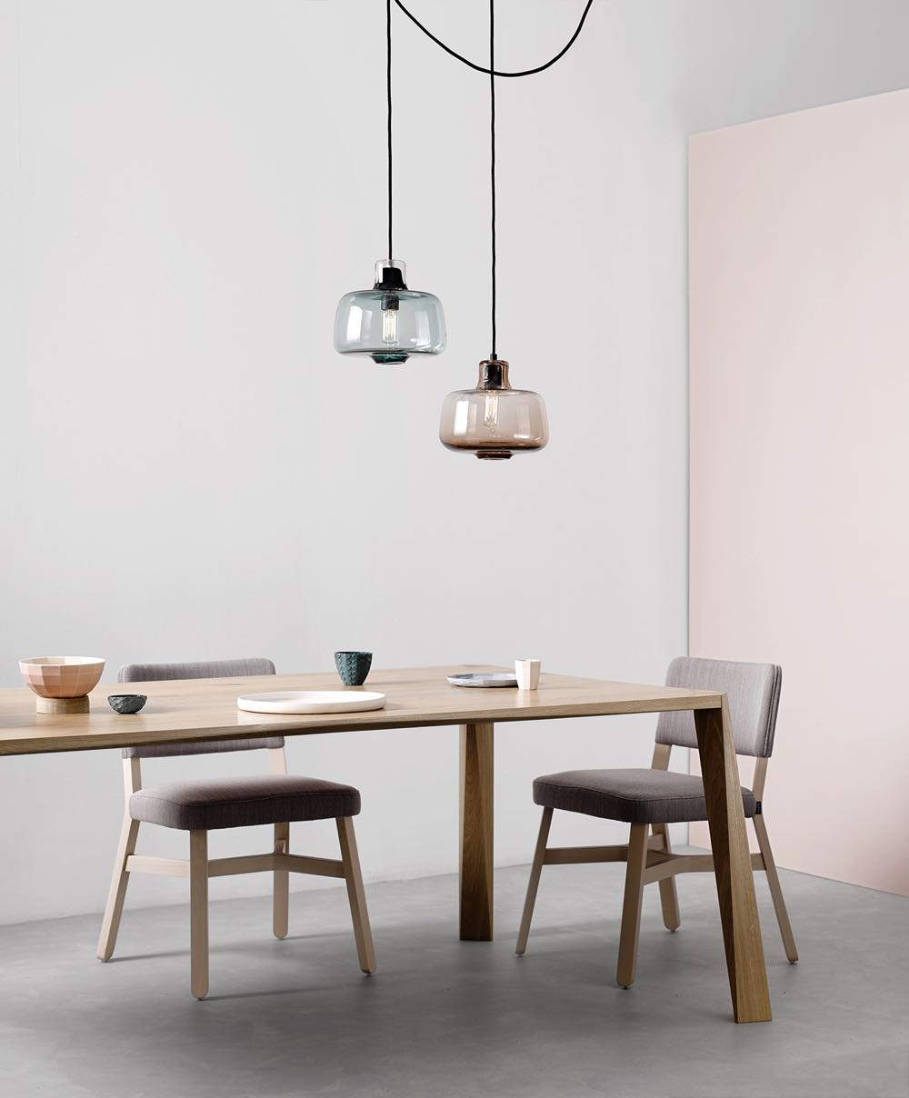 The all glass version of the 'Hide' pendant lights by Oxley Butterworth.