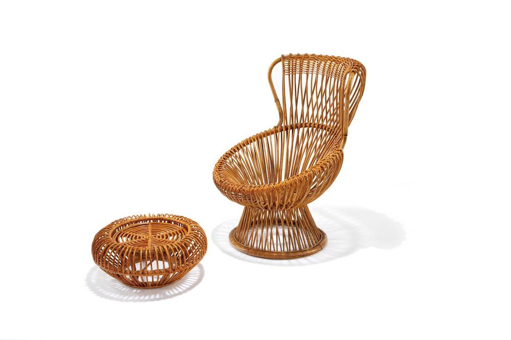 Franco Albini designed 'Margherita' chair and ottoman. Available from Vittorio Bonacina.