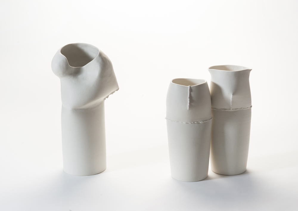The 'Beginning' vessels by Keiko Matsui show a slightly more exaggerated use of her scar motif. The reference has its roots in the Japanese philosophy of visible mending of precious objects that crack, split  or chip during their lifetime. Photo by Stephen Cummings.