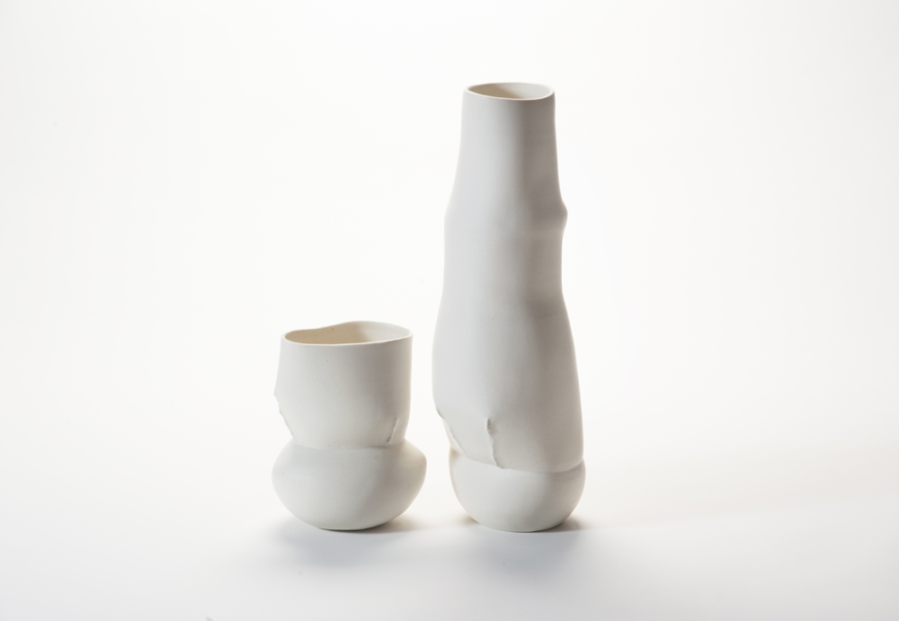 'Mother & Child' vessels from 2012 add a bound element to the scar series. This creates a slightly more tortured beauty. Photo Stephen Cummings.